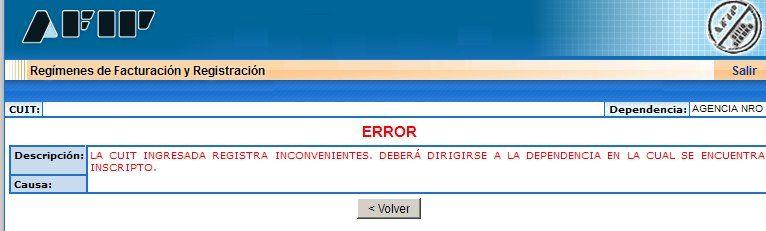 Error estado erroneo del domicilio- La CUIT ingresada registra inconvenientes