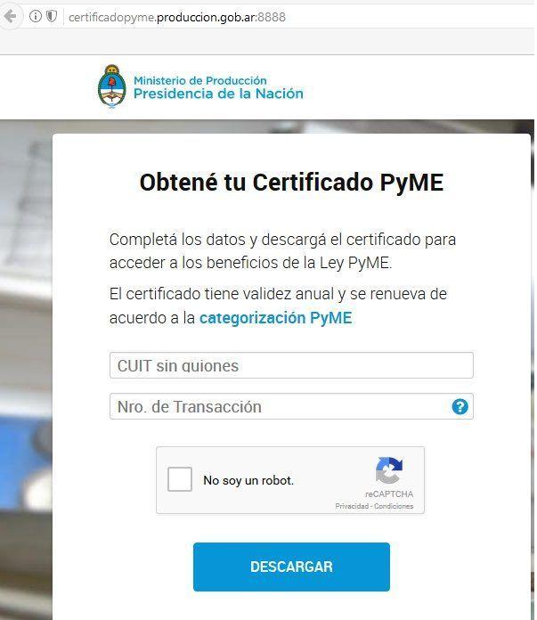 Certificado pyme ya se puede descargar desde la pagina del for La pagina del ministerio