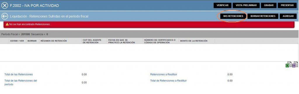 9.F2002 IVA POR ACTIVIDAD CARGA DE RETENCIONES Y PERCEPCIONES