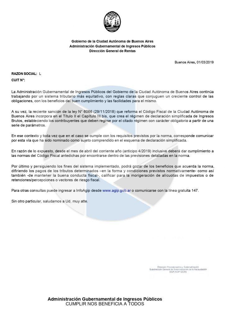 declaracion simplificada comunicacion AGIP