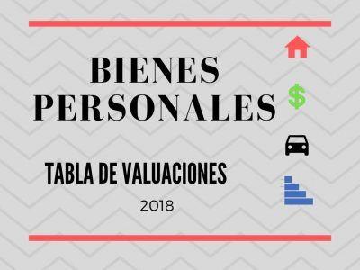 VALUACIONES 2018 BIENES PERSONALES